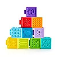 Hape 捏捏乐数字浮雕软积木玩具 安全可啃咬 牙胶洗澡 感官训练 几何配对/形状认知 6个月+