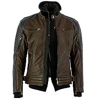 Bikers Gear Australia 新款瘋狂打蠟牛巴革高級皮革帶可拆卸連帽衫摩托車夾克,CE 1621-1 可拆卸 5 件盔甲 3XL 棕色 LJ11103X