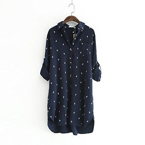 LIZHIQI春新プリントバーディーシルクシャツ新鮮な長袖ラペルシングルポケットの女性の長袖シャツサイズ2色(ネイビー)