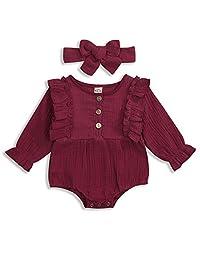 KCSLLCA 女婴连衫裤套装 纽扣 褶皱 长袖 纯色 连身衣 带发带 2 件衣服
