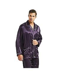 lonxu 男式款丝绸绸缎睡衣套装睡衣家居服 S ~ 4X L 码 PLUS 礼品