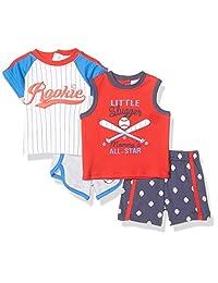 Quiltex 男孩幼童棒球 2 T 恤和 2 件短裤套装 4 件
