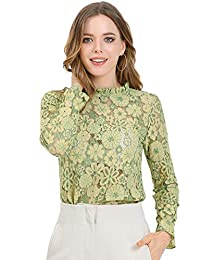 Allegra K 女式钩针花边透视花卉褶皱领衬衫