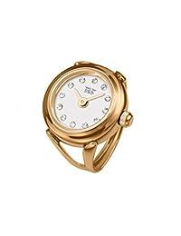 Davis 4161 - 女士手指戒指手表 玫瑰金白色表盘施华洛世奇水晶莱茵石蓝宝石玻璃可调节