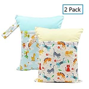 2 件尿布尿布尿布袋拼接干燥尿布袋可重复使用,带有两个拉链口袋,29.97 厘米 x 36.83 厘米婴儿物品适合旅行、海滩、游泳池、日托游泳衣沐浴套装 giraffe&cat 2组