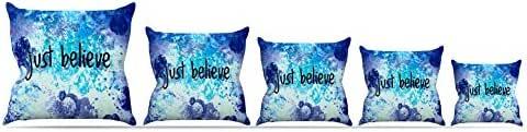 "Kess InHouse Ebi Emporium ""Just Believe""蓝色紫色抱枕 26 by 26"" JD1076APW05"