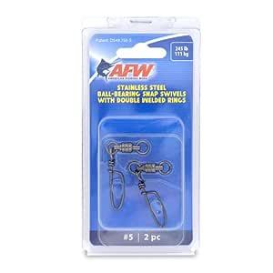 American Fishing Wire 5 不锈钢滚珠轴承按扣/旋转(2 件),黑色,245 磅