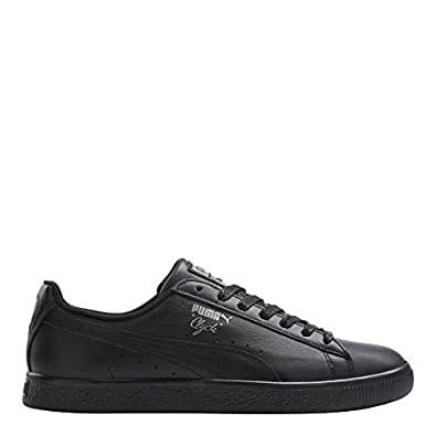PUMA 男士 Clyde 运动鞋 黑色/银色 9.5