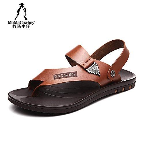 牧马牛仔 男凉鞋 真皮沙滩鞋 男士夏季皮凉鞋 男鞋 透气休闲凉拖鞋 2A7810