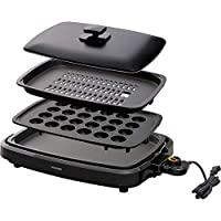 IRIS OHYAMA 愛麗思歐雅瑪 電熱烤盤 黑色 帶蓋子 3WAY型(章魚燒、烤肉、平面) 黑色 3WAY(たこ焼きプレート付き) APA-137-B