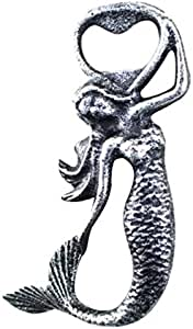 Antique Silver Cast Iron Arching Mermaid Bottle Opener 6 Inch - Cast Iron Bottle Opener - Sea Home Decor