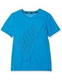 NIKE Boys' Dry Miler GFX Short sleeve Top, Blue (Equator Azul), M