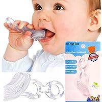 胡桃树婴儿爱*个美国**批准婴儿*个初学者牙胶 | 三重猪牙刷 | FDA 食品级硅胶| 3 个月及以上宝宝(5 件) 1 件