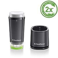 Foodsaver VS1192X 手持无线充电真空封口机 适用于食品和充电站,1个新鲜容器 & 5个新鲜袋,黑色