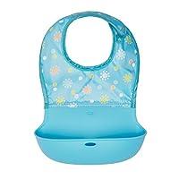 【自营】美国 OXO 奥秀 儿童柔软硅胶围嘴(蓝色花朵) 布艺配硅胶材质 适合6个月以上宝宝(不含BPA,邻苯二甲酸酯和PVC)