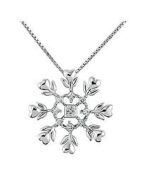 月光系列雪花吊坠项链 圣诞 冬季 节日首饰 925 纯银 CZ