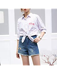LX 2018夏季新款韩版校园青春条纹方领五分袖chic衬衫女