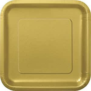 "14 Count Square Dinner Plates, 8-3/4"" Gold"
