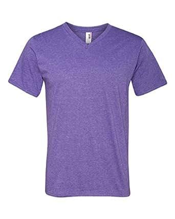 Anvil Lightweight V-Neck T-Shirt (982)- HEATHER PURPLE,XL