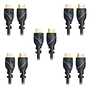 C&E 高速 HDMI 以太网电缆 - 支持 3D 和音频回送[*新版本],1.5 英尺,1 包CNE66548 HDMI 公对公式 3-Feet (5-Pack)