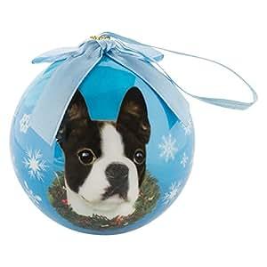 SumacLife 圣诞装饰防碎球假日树装饰 波士顿梗队