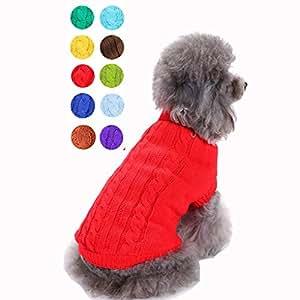 Bwealthest 狗狗毛衣 - 保暖小狗毛衣,可爱针织经典狗狗外套,狗狗中性毛衣,宠物狗运动衫服装。 红色 小号