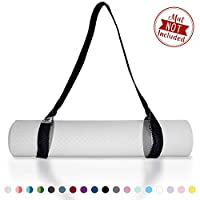 Tumaz 瑜伽垫带,垫子背带 - 厚实、耐用、舒适精致纹理和多功能瑜伽拉伸带,64/85 英寸,多种颜色选择 [未注入]