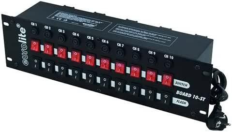 Eurolite Board 10-ST 10x 接触保护 面板,10个开关(10 x Flash),分离开关(10 个保护盒)