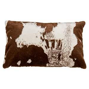 SARO LIFESTYLE Lait Collection 都市仿牛皮羽绒枕,35.56 厘米 x 55.88 厘米,棕色