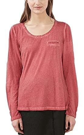 edc by Esprit Women's 116cc1k023 Long Sleeve Top Red (dark Red 610) 38 (Manufacturer size: Medium)
