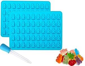 Gummy Bear 硅胶巧克力模具和糖果制作模具 2 个装加赠滴剂,方便填充 在托盘上 100 个小熊 不含双酚 A,冰箱,烤箱和洗碗机 蓝色 2组 14177967
