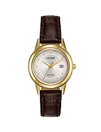 Citizen 西铁城 手表女式 ECO Drive 手表银色表盘 模拟显示和棕色皮革表带 fe1082–05A