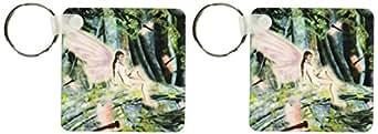3dRose 美丽森林仙女与龙鱼 - 钥匙链,6.35 x 11.43 厘米,2 件套 (kc_23212_1)