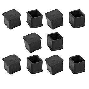 方形橡胶盖桌脚套 24mm x 24mm 10 件黑色