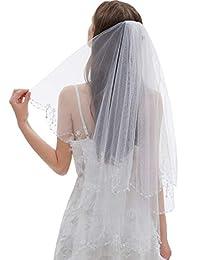 Malishow 2 层婚礼面纱亮片串珠珍珠边缘闪亮新娘面纱