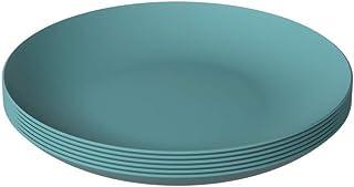 Coza 设计 - 牢不可破且可重复使用的塑料板套装 - 不含 BPA - 6 件套(波罗的海蓝)