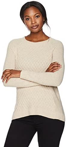 Lark & Ro Women's 100% Cashmere Mixed-Stitch Sweater