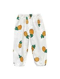 Tugao 婴儿男孩女孩长灯笼裤棉纱可爱卡通印花哈伦裤