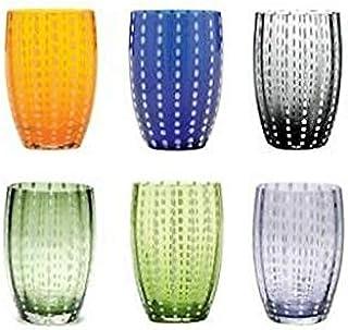 Zafferano PR00198 珍珠玻璃杯 - 手工制作透明彩色玻璃,cl 32 h 109 毫米 d 71 毫米套装 6 件颜色分类,玻璃