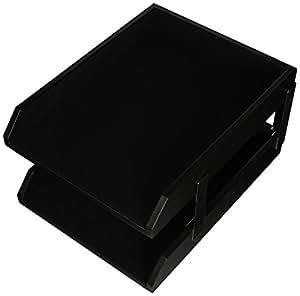 Dacasso 经典黑色皮革前置字母托盘 带银色堆叠柱