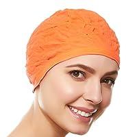 Beemo 女式/女孩泳帽复古风格乳胶浮雕花图案装饰泳帽长短发