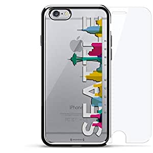 奢华镀铬系列 360 套装:设计师手机壳 + 钢化玻璃 适用于 iPhone 6/6s 银色LUX-I6CRM360-SEATTLE3 Seattle Skyline 2 银色