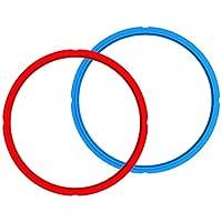 Instant Pot 密封環,雙包裝透明白色,適用于 5 夸脫/升或 6 夸脫/升型號 藍色/紅色 3 夸脫 RING-3-BLUE-RED-2