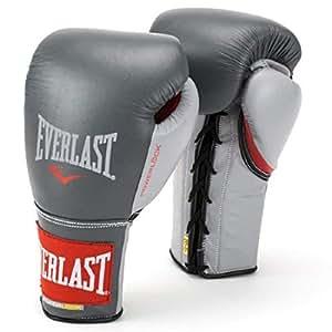 Everlast Powerlock 系带训练手套 灰色/红色 12oz