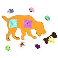 Ekatoo 可爱毛毡公告栏狗形状 40.64 cm x 24.13 cm 自粘背通知备忘板,带 6 种多色足迹和 1 个棕色骨(含有 10 个推销)