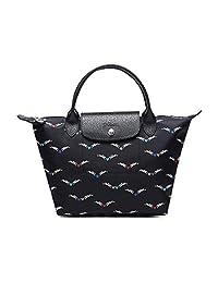 Longchamp 珑骧 Le Pliage 系列 女式 短柄小号尼龙包奔马爱心印花 1621 663 006 海军蓝 25 * 14 * 23cm