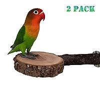 YJKJ 天然木制 鹦鹉笼 鸟架 圆底 鲈鱼爪磨 站立 登山玩具 2件装