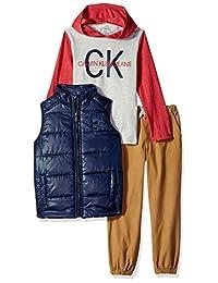 Calvin Klein 男童 3 件套连帽 T 恤