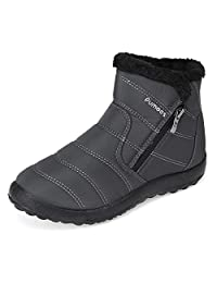 Pumoes 女式保暖雪地靴冬季毛皮衬里鞋防滑轻质踝靴户外保暖舒适鞋防水一脚蹬运动鞋