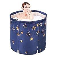 独立式浴缸便携式塑料浴缸折叠水疗浴缸,适合成人,小型浴室,家庭浸泡加厚泡沫,保持温度儿童户外(星星)